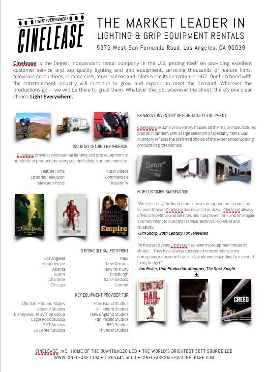 Cinelease Cut Sheet